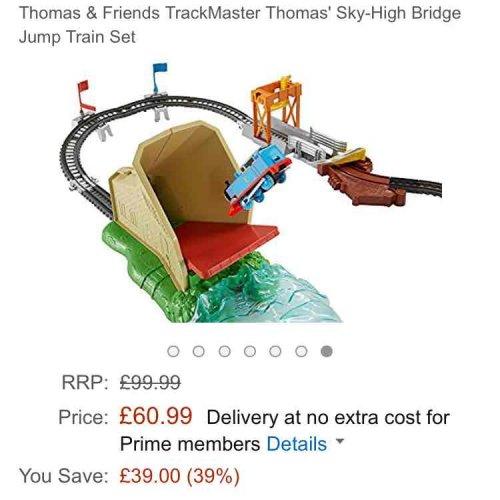 Thomas and friends sky high bridge jump set. only £60.99. Amazon