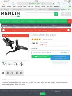 Shimano m396 acera / m445 deore disc brake (lever hose and calliper) for MTB mountain bike only £15.75 @ Merlin (incl. extra 10% shimano discount at checkout