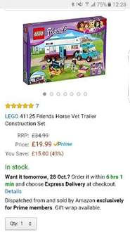 Lego Friends Horse Vet Trailer Construction Set 41125 £19.99 Amazon (Prime or free delivery w/ £20 spend)