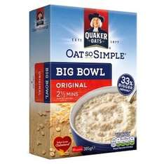 Quaker Oat So Simple Big Bowl Original (10 x 38g) or Golden Syrup Flavour (8 x 49.6g) Porridge reduced from £2.44 to £1 at Asda