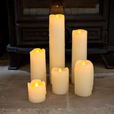 Set of 6 Skinny Real Wax church style Battery Operated LED Candles £10.98 - Sold by Lights4fun and Fulfilled by Amazon