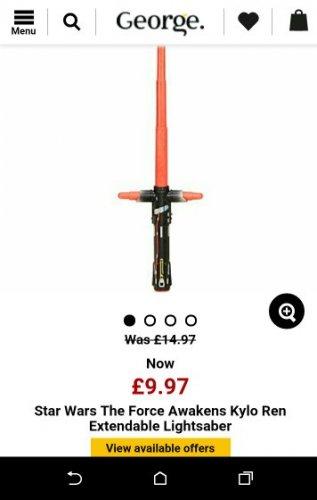 star wars Kylo ren extendable light saber £9.97 @ Asda George