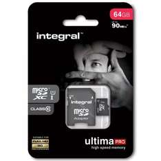 Integral 64GB Ultima Pro Micro SDXC Card UHS-I U1 Class 10 - 90MB/s at MyMemory for £13.95