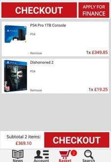 ps4 pro and dishoned 2 for £369. shopto