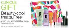 Free Clinique gift bag for Her and 10% off with £50 purchase at Boots
