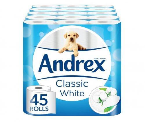 Andrex Classic White Toilet Roll Tissue Paper - 45 Rolls £14.99 Prime @ amazon (plus £3.00 non prime)