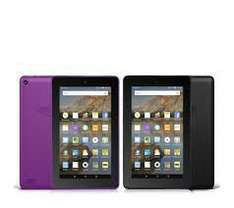 """Amazon Fire Set of 2 WiFi 8GB 7"""" Tablets with Case and 32GB MicroSD Card £99.96 / £106.91 delivered QVC and 4 easy payments of £24.99"""