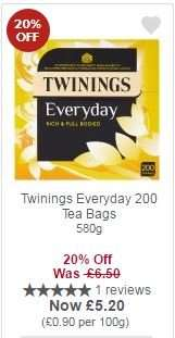 Twinings Everyday 200 Tea Bags 580g for £5.20 with MyPicks @ Waitrose