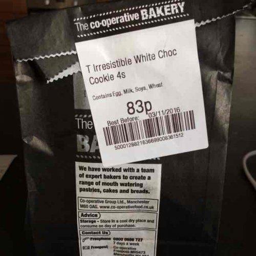 Co-op irresistible Belgian white chocolate cookies now 83p (plus 5% back for members)