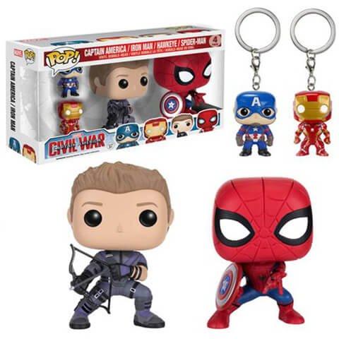Extra £5 off Pop! Vinyl Civil War Hawkeye, Spider-Man & Captain America, Iron-Man 4 pack set £14.99 @ Zavvi