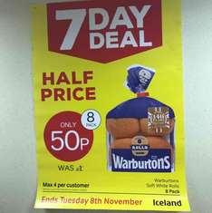 Iceland 7day deal 8 pack warburtons soft white rolls 50p