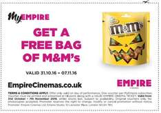 Free bag of M&M's at Empire Cinemas with ticket purchase