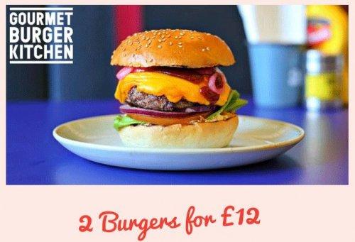 Gourmet Burger Kitchen : 2 Burgers for £12 until 8th November