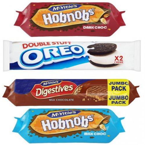 McVities Dark/Milk Chocolate Hobnob 262g was £1.50 now 75p, McVities Dark/Milk Chocolate Digestives 500g Jumbo Pack £1.14, Fox's Crinkle Biscuits 49p, 12 Pack Mini Chedders £1.37, Oreos 54p, Maryland Cookies 400G 99p @ Tesco