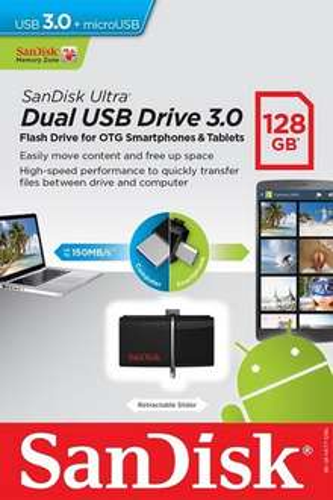 SanDisk Ultra 128 GB Dual USB Flash Drive USB 3.0 up to 150 MB/s  £23.95 @ Amazon