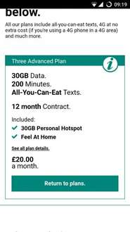 30gb data including tethering, 200mins unlimited texts £20/12mths Three