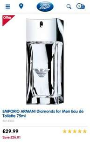 EMPORIO ARMANI Diamonds for Men Eau de Toilette 75ml £29.99 Boots