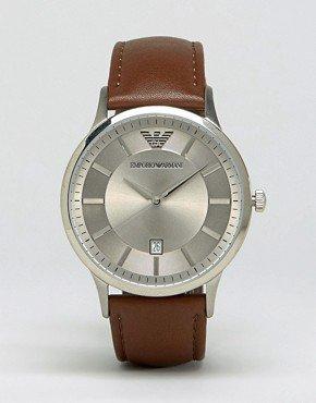 Emporio Armani Tan Leather Strap Watch AR2463 (299619) £111 WAS £149 @ ASOS