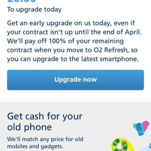free o2 upgrade via o2 app if contract expires before april 2017
