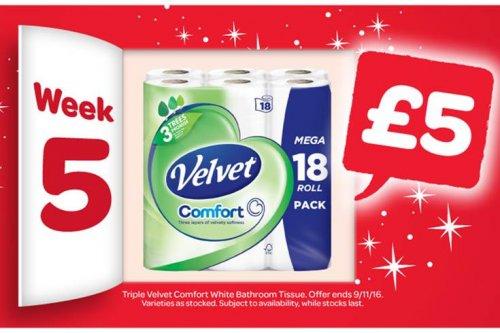 Velvet Triple Ply Toilet Rolls (18) Only £5.00 @ Spar