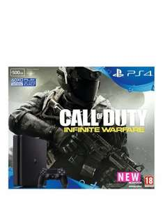 PlayStation 4 Slim 500Gb Black Console with Call of Duty: Infinite Warfare and Optional Extra DualShock Controller and/or 12 Months PlayStation Plus £339 Very