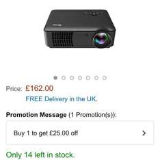 projector for home videos has £25 off promo - £137 - Sold by Gbargain UK and Fulfilled by Amazon