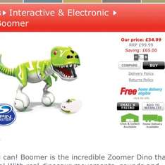 zoomer Dino £34.99 plus p&p (does say free p&p on the website!) at Home Bargains