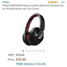 PHILIPS SHB700 NOISE ISOLATION BLUETOOTH HEADPHONES WITH CALL CONTROL £34.96 Sold by RCM UK and Fulfilled by Amazon.