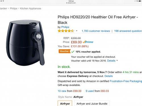 Philips HD9220/20 Healthier Oil Free Airfryer - Black Amazon with voucher