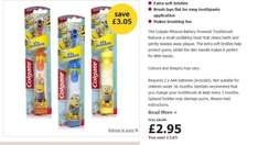 spiderman, barbie, minion toothbrush Colgate battery operated including two batteries £2.95 + free click and collect @ Wilko