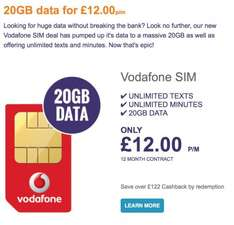 Vodafone 20GB data, unlimited text and minutes £22.20 for 12 months Total £266.40  for (poss £12.00 per month after cashback) @ e2save