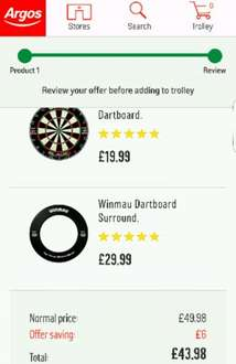 Blade 4 dartboard and Winmau surround for £43.98 at Argos