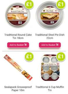 Poundshop online have a great variety of baking equipment £1.00 (see description)£3.75 standard p&p or free p&p with orders over £35