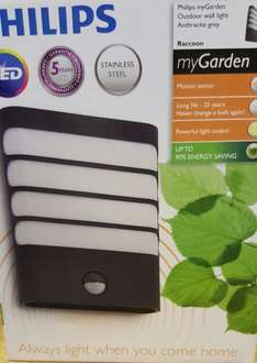 Philips myGarden Raccoon LED Wall light with Motion Sensor - Instore only - Grey - Homebase £12.50