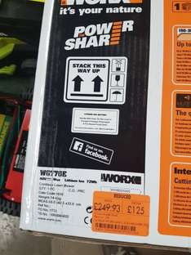 worx 40v cordless lawnmower £125 @ homebase
