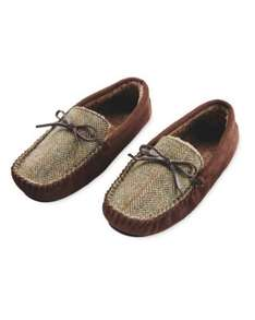 Men's Brown Harris Tweed Moccasins Slippers £7.99 at Aldi In-Store Only