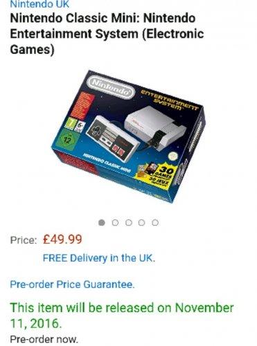 Nintendo Classic Mini - back in stock for pre-christmas delivery £49.99 @ Amazon