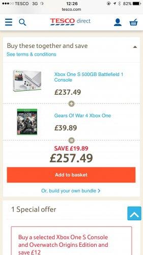 Xbox One S 500gb + Battlefield 1 + Gears of War 4 - £257.49 @ Tesco Direct