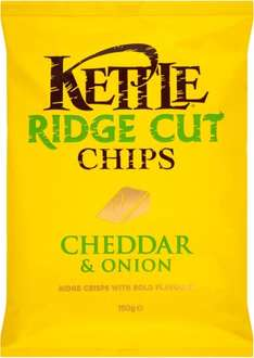 Kettle Ridge Cut Chips Sea Salted / Cheddar Cheese and Onion / Salt and Malt Vinegar / Spicy Chilli (150g) was £1.99 now £1.00 @ Tesco