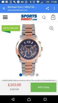 Michael kors watches (lots of different ones)upto 70% off £95.99 delivered @ Sports direct