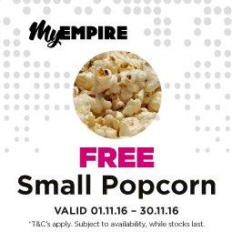 Free Small Popcorn @ Empire Cinemas