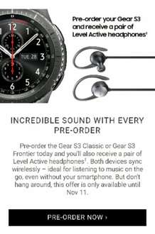 Pre order Gear S3 Frontier or Classic and get free wireless earphones £350 @ Samsung
