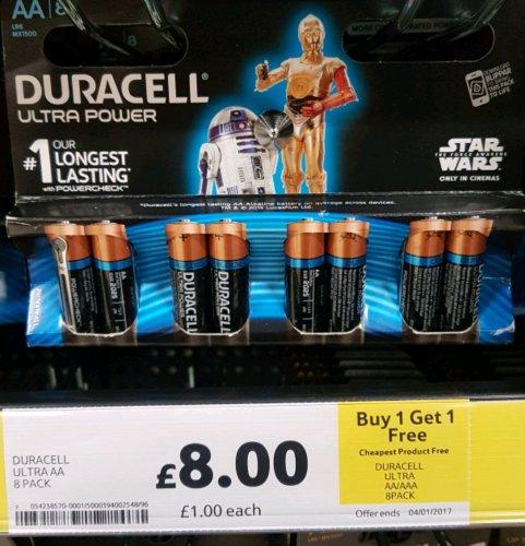 Duracell Ultra Power AA 8 pack Alkaline batteries. Buy 1 Get 1 Free £8 @Tesco