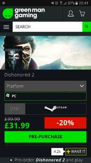 Dishonored 2 pre purchase GMG (Steam) -20% £31.99 includes Dishonored Definitive Edition