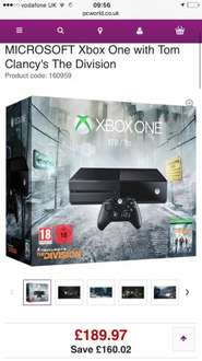 Xbox One 1TB Console with The Division Digital Download at PC World - £189.97