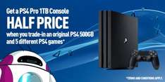 Trade in your old ps4 with 5 games for a half price ps4 pro at GAME - £174.99