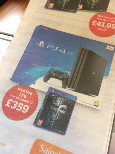 Ps4 pro + dishonored 2 - £359 instore @ Sainbury's