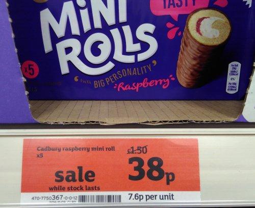 Cadbury chocolate covered raspberry mini rolls 38p for five (was £1.50) at Sainsbury's Local