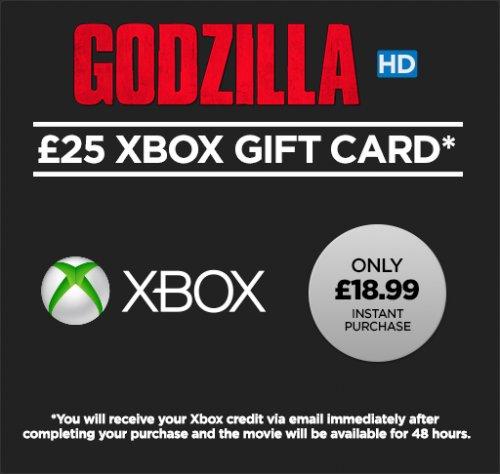 £25 of Xbox credit + Godzilla HD movie to rent – £18.99 /  £50 pounds of Xbox credit + Godzilla HD movie to rent £39.99 @ Wuaki