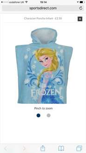 Swimwear sale. Disney's Frozen Child's Poncho £2.50 Sports Direct